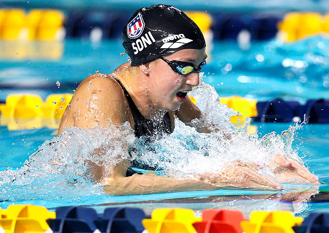 Breaststroke specialist Rebecca Soni took gold and silver in the 200m and 100m breaststroke, respectively. Soni also swam the breaststroke leg on the world record-breaking 4x100m medley relay.