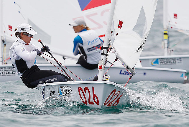 New Zealand's Sara Winther competes for the gold during the women's Laser Radial class gold medal race on Dec. 11.