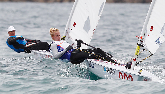 "Netherlands native Marit Bouwmeester (front) sails for the gold during the women's Laser Radial class gold medal race on Dec. 11. The World No. 1 outlasted Evi van Acker for her first world championship title. ""I feel awesome,"" she said. ""I wanted to dominate the week."""