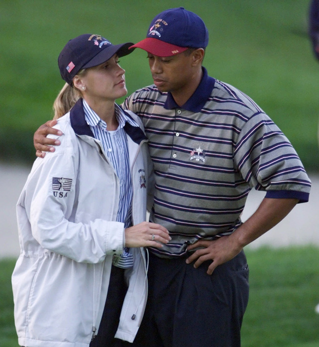 Girlfriend Joanna Jagoda consoles Tiger after he missed a putt to lose a four-ball competition match in 1999. Woods met his ex-wife Elin Nordegren in 2001, when he was still dating Jagoda.