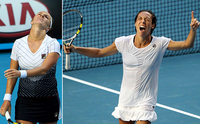The matchup between the 2010 and '09 French Open champions didn't start with much of a bang, but a three-hour, 30-game third set made this the longest women's match in Grand Slam history. Schiavone was able to outlast  Kuznetsova 6-4, 1-6, 16-14 in 4 hours, 44 minutes, saving six match points.