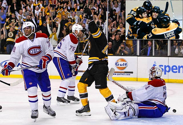 Nathan Horton made the most of the first postseason appearance of his six-year NHL career by scoring his second overtime goal of the playoffs with his only shot of the game, at 5:43 of the extra session. The resilient Habs erased deficits of 2-0 and 3-2 but the tenacious Bruins defense refused to relinquish the lead.