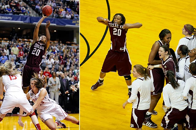 The Aggies rallied from a late 10-point deficit to get past the top-seeded Cardinal on Tyra White's layup with 3.3 seconds left. There were five lead changes in the final minute. Texas A&M went on to beat Notre Dame to win its first championship.