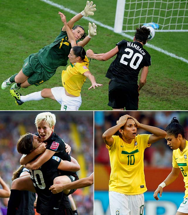 The match in Germany had plenty of twists and turns. An early own goal by Brazil, a controversial ejection of American Rachel Buehler in the 66th minute and a retaken penalty kick that enabled Brazil to tie the game at 1-1 -- and that was all before overtime when Marta scored to put Brazil on the brink of victory. Enter Abby Wambach, the U.S. team's powerful forward, who scored with the last touch of the game, heading in a goal in the final seconds of overtime. With momentum on their side, the U.S. performed flawlessly in the shootout to beat Brazil 5-3.