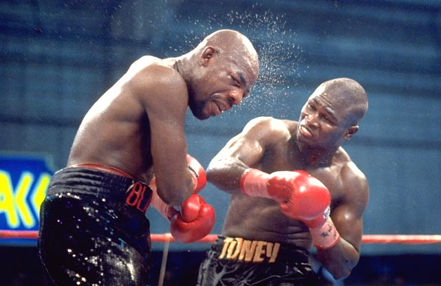 Toney wins IBF title.  Toney, 33-0-2, becomes a two-division champion with a career-best performance. He utterly dominates Barkley, 30-7, who is two fights removed from defeating Thomas Hearns for a second time. When referee Richard Steele intervenes, Barkley's left eye is closed, his right cheek is swollen, and he's bleeding from the nose and mouth.