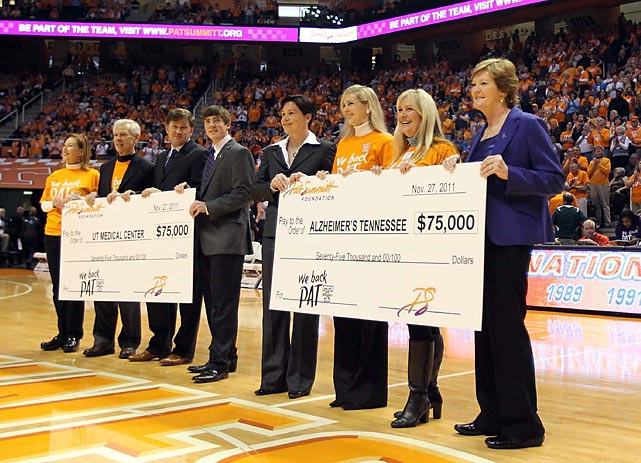At halftime of Tennessee's game against Baylor on Nov. 27, 2011, Pat Summitt announced the formation of the Pat Summitt Foundation with the long-term goal of finding a cure for Alzheimer's.