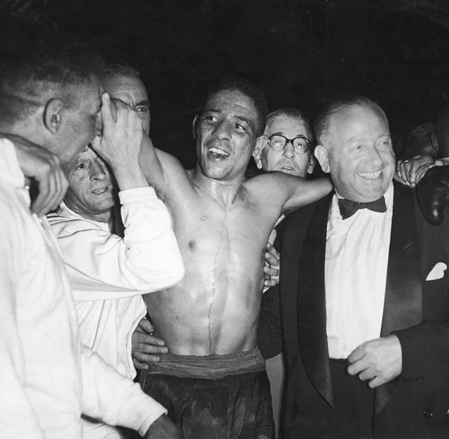 "One of the most exciting British fighters in history, ""The Leamington Licker"" became a national hero in 1951 with an upset victory over Sugar Ray Robinson for the title. His reign lasted just 64 days, when Robinson won their rematch."
