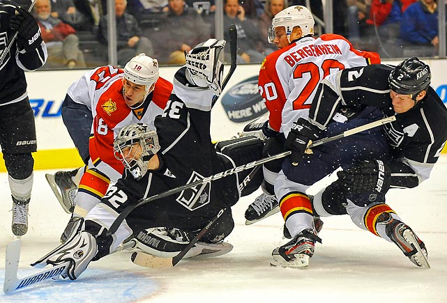 Panthers left wing Sean Bergenheim gets a shot past Los Angeles goaltender Jonathan Quick during the second period of the Kings' 2-1 win.