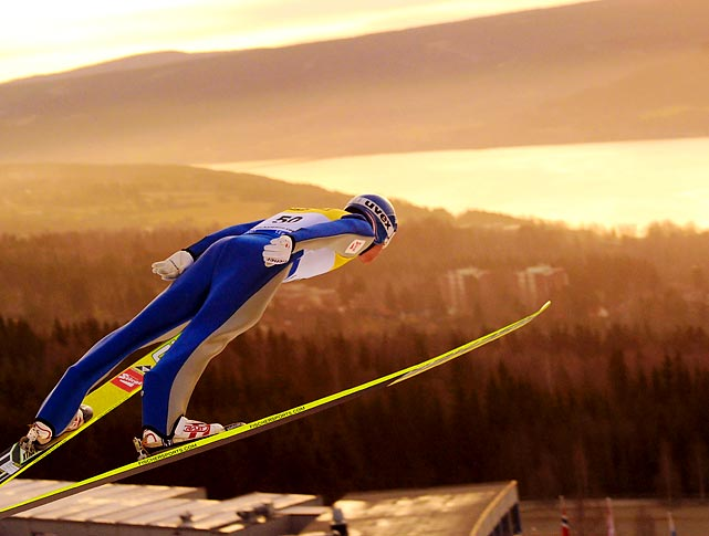 Bernhard Gruber of Austria participates in the Nordic Combination Ski jumping competition at the FIS World Cup in Lillehammer, Norway.