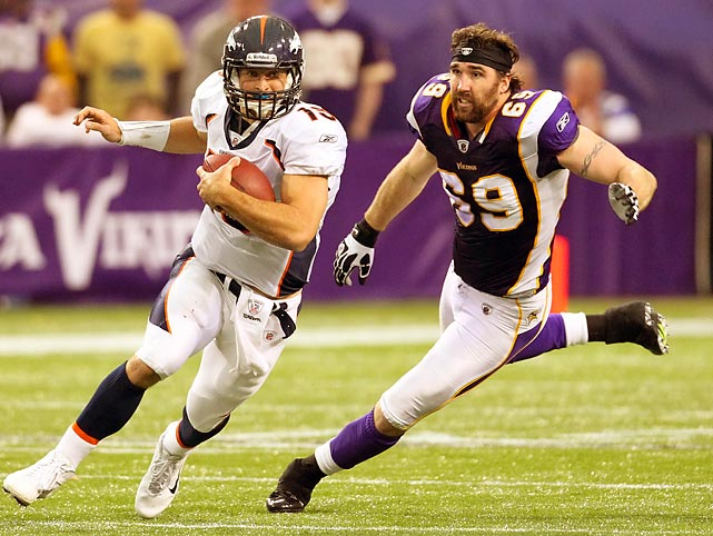 A helmetless Jared Allen, who leads the NFL in sacks, chases Broncos quarterback Tim Tebow at Mall of America Field in Minneapolis. Denver's 35-32 win makes Tebow 5-1 as the Broncos' starter this season.