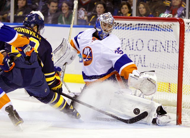 Islanders goalie Al Montoya stops a shot from Sabres' forward Jason Pominville. Montoya had 30 saves and New York won 2-1.