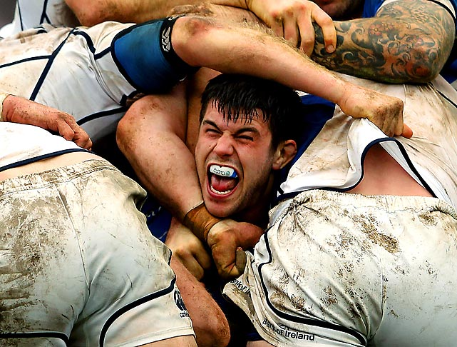 Bath's Guy Mercer gets caught up in a scrum against Leinster during the Heineken Cup in Bath, England.