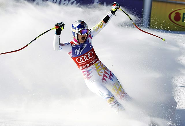 Lindsey Vonn celebrates after winning the World Cup Super G in Beaver Creek, Colo.