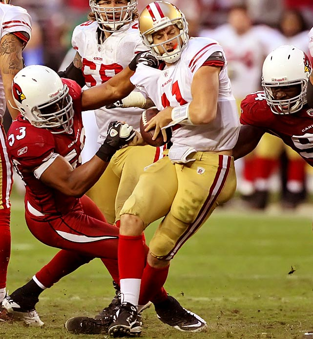 Arizona linebacker Clark Haggans sacks 49ers quarterback Alex Smith during the Cardinals 21-19 win. Smith was sacked five times.