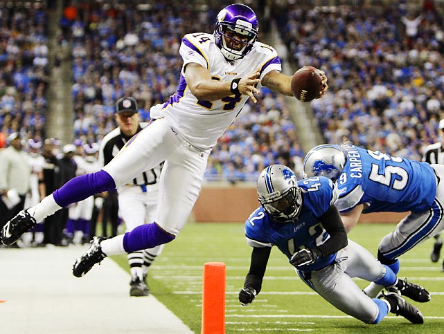 Vikings quarterback Joe Webb came in for an injured Christian Ponder and rushed for 109 yards and a touchdown. Minnesota still couldn't get past the Lions, losing 34-28.