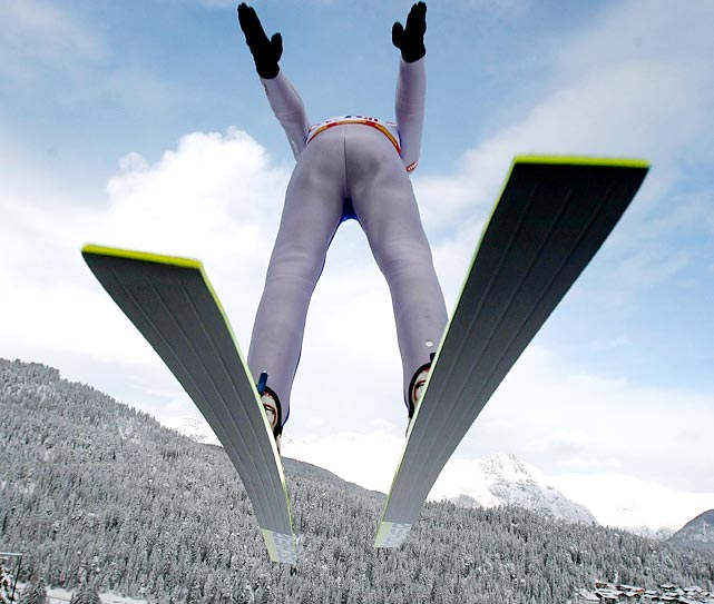Austria's Christoph Bieler competes in the Nordic combined World Cup event.