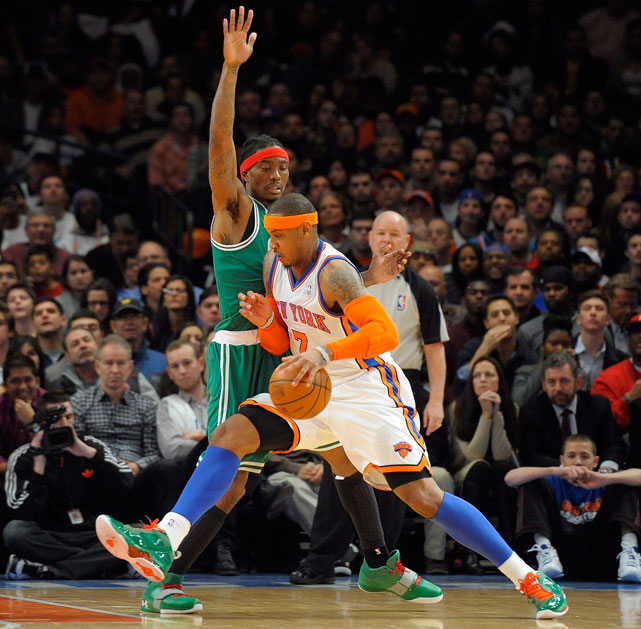 After a 149-day lockout and a whirlwind preseason and free agency, the NBA returned with five star-packed games on Christmas Day. Here are some of the best shots from the first day of the shortened 2011-12 NBA season.  In the day's first game, Carmelo Anthony led the Knicks on a fourth-quarter rally in their thrilling 106-104 home win over Boston. Anthony scored 17 of his game-high 37 points in the fourth, and finished with eight rebounds and three assists.