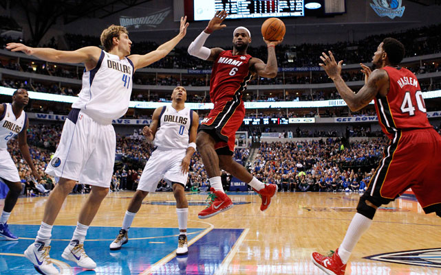 In the second game of Opening Day, the Heat took on the Mavericks in Dallas for a rematch of the Finals. The result this time: a 105-94 win for Miami, which led by 32 in the fourth before the Mavericks came back to within 11. LeBron James led all scorers with 37 points, 10 rebounds and six assists.