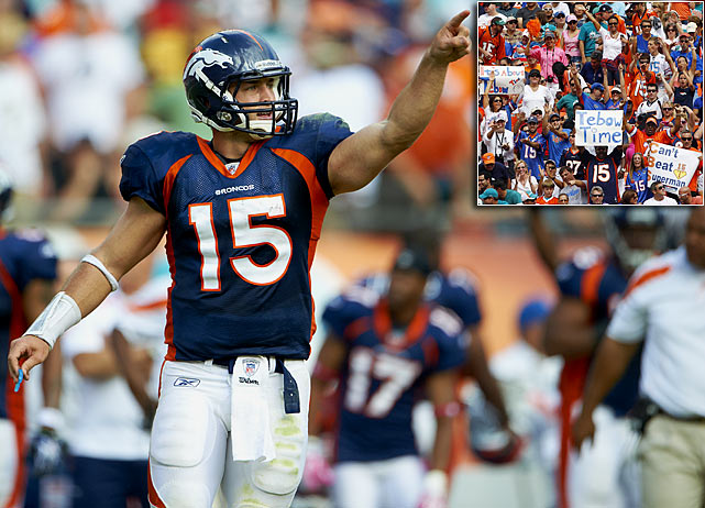 Tebow's first start came against a winless Miami Dolphins team in Week 7. Although the game was played in Miami, lots of fans wore Tebow jerseys, and the popular quarterback drew a big roar trotting onto the field for his first series. After a horrific start, Tebow threw two touchdown passes in the final 2:44 of regulation, scored a two-point conversion standing up with 17 seconds left to tie the game and, after a Miami turnover in overtime, led a drive that was capped by a 52-yard Matt Prater field goal.
