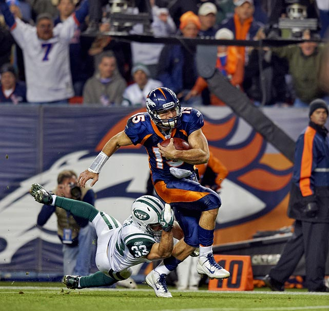 Rex Ryan's defense was no match for the former Heisman winner, well...sort of. Tebow scored on a 20-yard run with 58 seconds left in the game to cap off the 95-yard, game-winning drive. The other Broncos touchdown was scored on an interception return by cornerback Andre' Goodman.