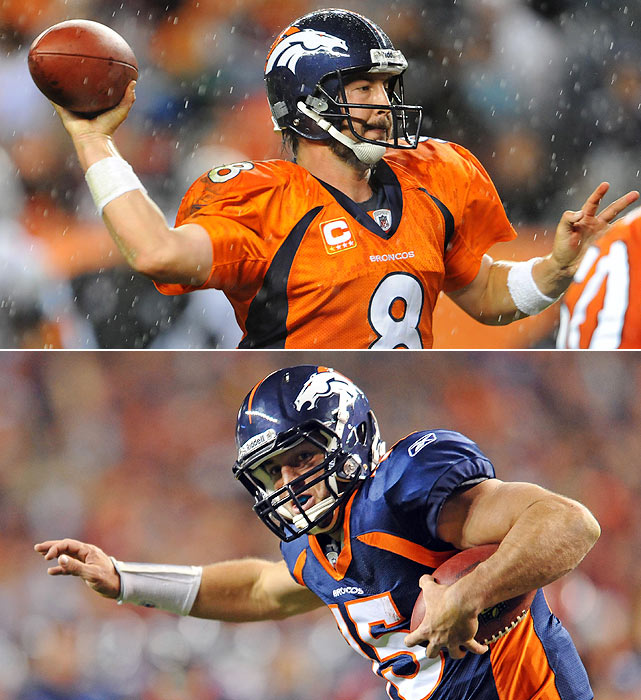 Orton:  5 GS, 979 yards, 8 TDs, 7 INTs, 9 SCKs  Tebow:  9 GS, 1,484 yards, 11 TDs, 2 INTs, 27 SCKs