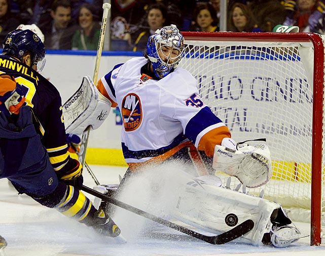 All but forgotten after being chosen by the New York Rangers in the first round (sixth overall) of the 2004 draft, he surfaced in Phoenix for five games in 2008-09. Trapped behind Ilya Bryzgalov and doing spot duty for AHL San Antonio, Montoya was dealt to the Islanders on Feb. 9, 2011, for a sixth-round pick in that summer's draft and soon justified his lofty draft status by going 9-5-5 with a 2.39 GAA and .921 save pct. for his woebegone new team. Starting 2011-12 as part of a three-headed net monster with Evgeni Nabokov and the perpetually injured Rick DiPietro, Montoya was playing well (6-5-3, 2.45 GAA, .917 save pct.) for the struggling Isles when he was concussed in a game against Winnipeg on Dec 20. The feeling is that he will either become the Isles' No. 1 goalie or be dealt to a team that allows him to continue fulfilling his considerable promise.