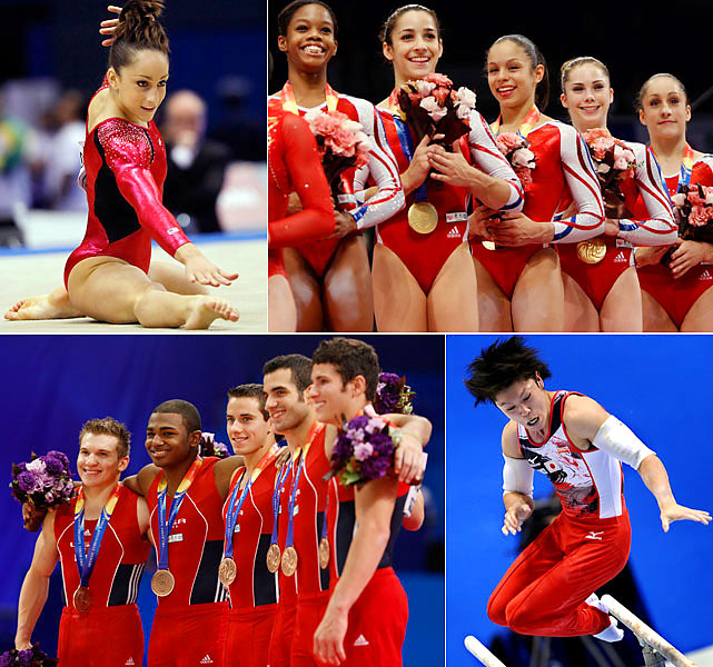 The U.S. women lost Alicia Sacramone to a torn Achilles tendon in training, leaving them with a roster of five while every other nation had six. It didn't matter, as the young team cruised to the gold medal in Tokyo. Its star, Jordyn Wieber (top left), won all-around gold. Japanese favorite Kohei Uchimura (bottom right) became the first man to win three straight all-around titles. The American men impressed by taking bronze, nearly snatching silver from the Japanese.