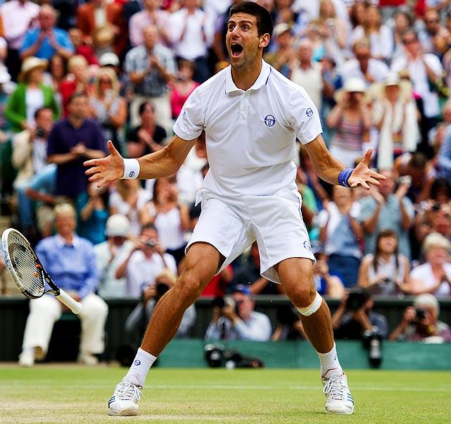 Novak Djokovic celebrates after winning his first career Wimbledon final. The Serbian native beat Rafael Nadal in four sets, 6-4, 6-1, 1-6, 6-3.