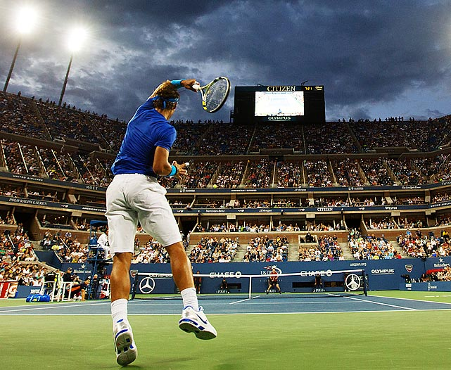 Despite dark and stormy weather conditions, Rafael Nadal and Novak Djokovic dueled for the U.S. Open title in September. Djokovic won in four sets, capturing his third major tournament of the year.