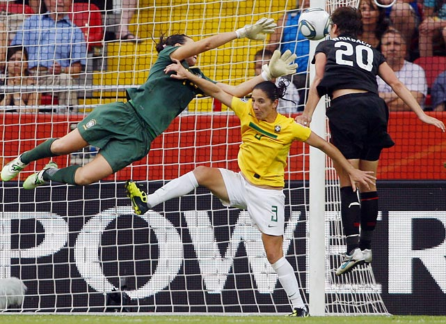 Goal! United States' striker Abby Wambach converted a header in the 122nd minute against Brazil, forcing penalty kicks and leading the U.S. to a dramatic and stunning upset. Wambach and Co. would also beat France 3-1 in the 2011 World Cup before eventually falling to Japan in the final.