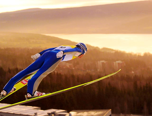 Austrian skier Bernhard Gruber takes off during a jump at the FIS World Cup in Lillehammer, Norway.