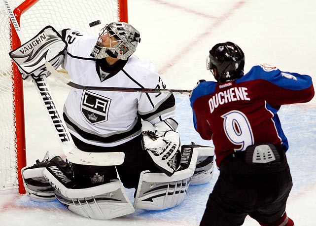 Colorado Avalanche forward Matt Duchene fires a third period shot on Los Angeles Kings goalie Jonathan Quick during their Oct. 30 showdown. Duchene scored the game-winner in an eventual 3-2 Colorado victory.