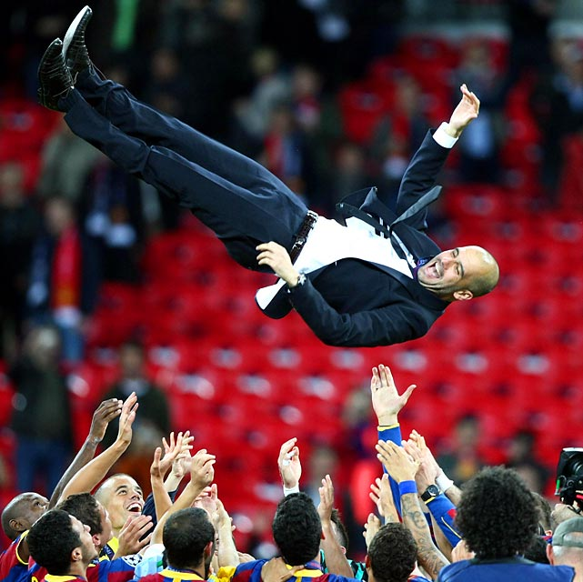 FC Barcelona coach Josep Guardiola was flying high after leading his team to a 3-1 victory over Manchester United in the 2011 UEFA Champions League final. Lionel Messi, David Villa and Pedro Rodriguez Ledesma scored goals in the match.