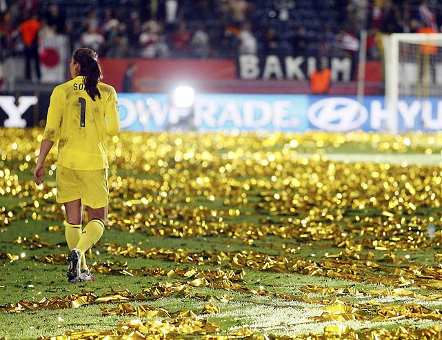 U.S. goalie Hope Solo walks off the field after losing in penalty kicks to Japan during the 2011 World Cup final. Despite the disappointing outcome, Solo was awarded the Bronze Ball given to the tournament's third best player (Japan's Homare Sawa won gold; U.S. striker Abby Wambach won silver).