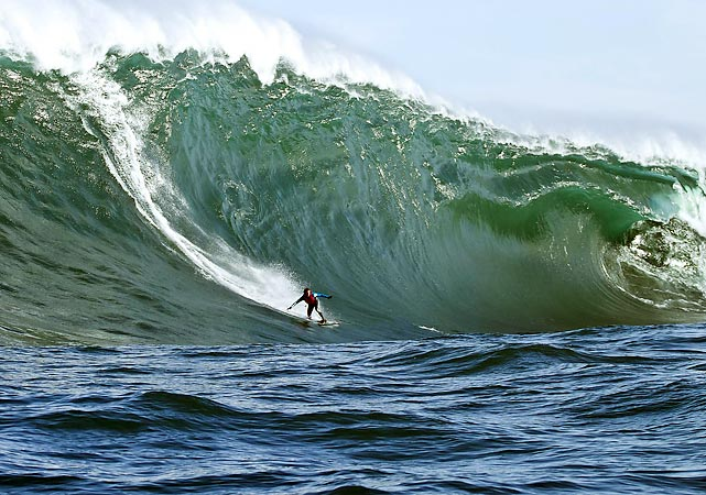 Australian surfer Marti Paradisis rides a wave at Shipstern Bluff, formerly known as Devil's Point, in Tasmania. According to reports, the swells were the biggest that they've been there for 10 years in May.