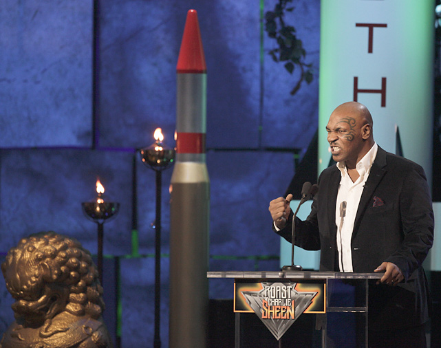 "The Comedy Central roast of ""winning"" actor Charlie Sheen included former heavyweight champion Mike Tyson, whose highlight was breaking the nose of  Jackass'  Steve-O during a post-show stunt."