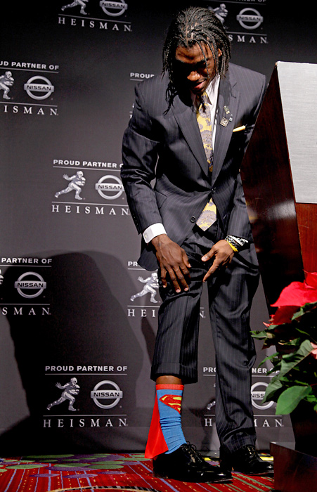 Griffin won the Heisman trophy and his socks were a big hit at the ceremony. Coincidentally, SI.com has learned that Superman is considering exchanging his Chuck Norris pajamas for an RG3 sleep shirt.