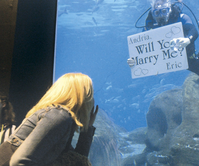 Andria Sannutti of Philadelphia is shocked to see her boyfriend Eric Large proposing from inside the Adventure Aquarium in Camden, N.J. She said yes.