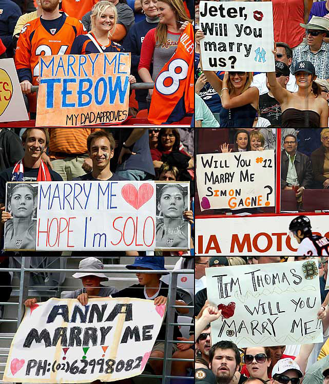 One of the perks to being an athlete is endless marriage proposals, as these signs indicate.
