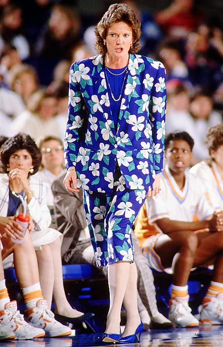 Summit walks the sidelines during her 1989 national championship season. She's won 16 SEC regular seasons and 15 SEC tournaments.