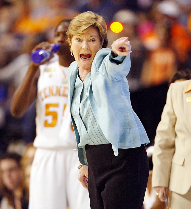 Summit gets animated on the sidelines during the 2008 national championship game against Stanford. The Lady Vols won the game 64-48.
