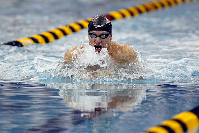 Brendan Hansen comes up for air during the men's 100-meter breaststroke on Friday Dec. 2. Hansen, a Pennsylvania native, swept the breaststroke events, taking gold in both the 100 and 200.