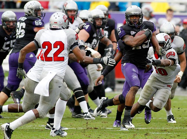TCU is the Mountain West champion in its last season in the league. Matthew Tucker (pictured) was one of five Horned Frogs to score on the ground against the Rebels; the win keeps TCU's BCS hopes alive.