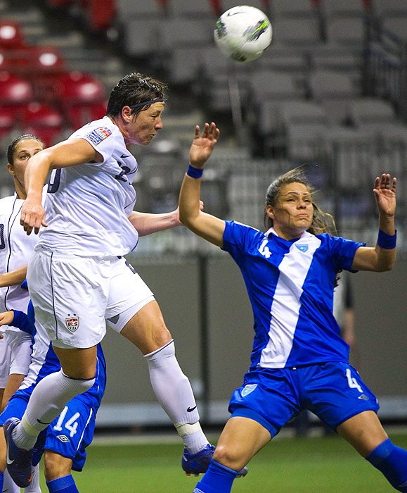 Two days later, the U.S. faced Guatemala, where Abby Wambach contributed two goals in the first half to the U.S.'s 13-0 win. Wambach is now third on the world's all-time scoring list.