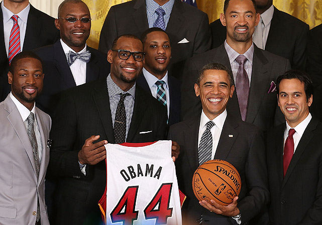 On Jan. 28, 2013, the Heat celebrated their 2012 championship with a trip to the White House. It was the latest in a long-standing tradition of athletes commemorating championships with U.S. Presidents. From Joe DiMaggio visiting President Eisenhower in 1953 to LeBron James with Barack Obama, here is a historical look at athletes visiting the White House.