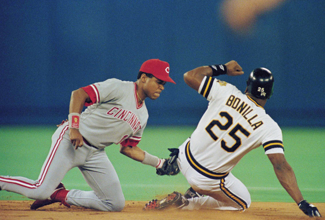 Larkin tags out then-Pirates outfielder Bobby Bonilla in Game 4 of the 1990 NLCS. The Reds beat the Pirates 4-2 and went on to sweep the A's in the World Series.