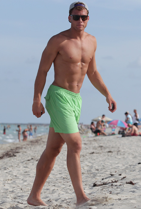 Blake Griffin, on a beach. Hello.