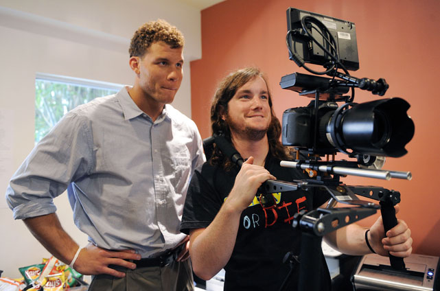 Griffin watches a take on the monitor of camera during the first day of his internship with comedy website Funny Or Die during the lockout.