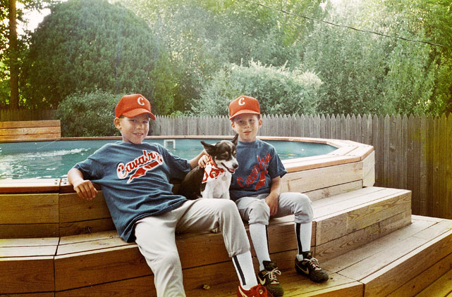 Blake (right) and Taylor in 1994, at ages 8 and 5. Multi-sport stars.