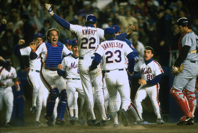 One out from a Series-ending defeat in Game 6, Mets score three runs in the bottom of the 10th inning to stay alive. Tying run scores on Bob Stanley's wild pitch and the winning run scores on Bill Buckner's error at first base. In Game 7, Mets spot Boston a 3-0 lead before powering to an 8-5 victory.